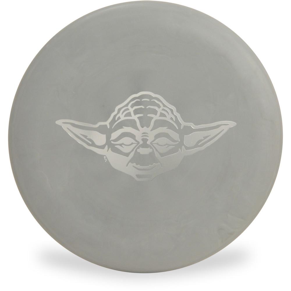 Discraft D CHALLENGER - STAR WARS Design Gray Yoda Headshot Disc Golf Putter Top View
