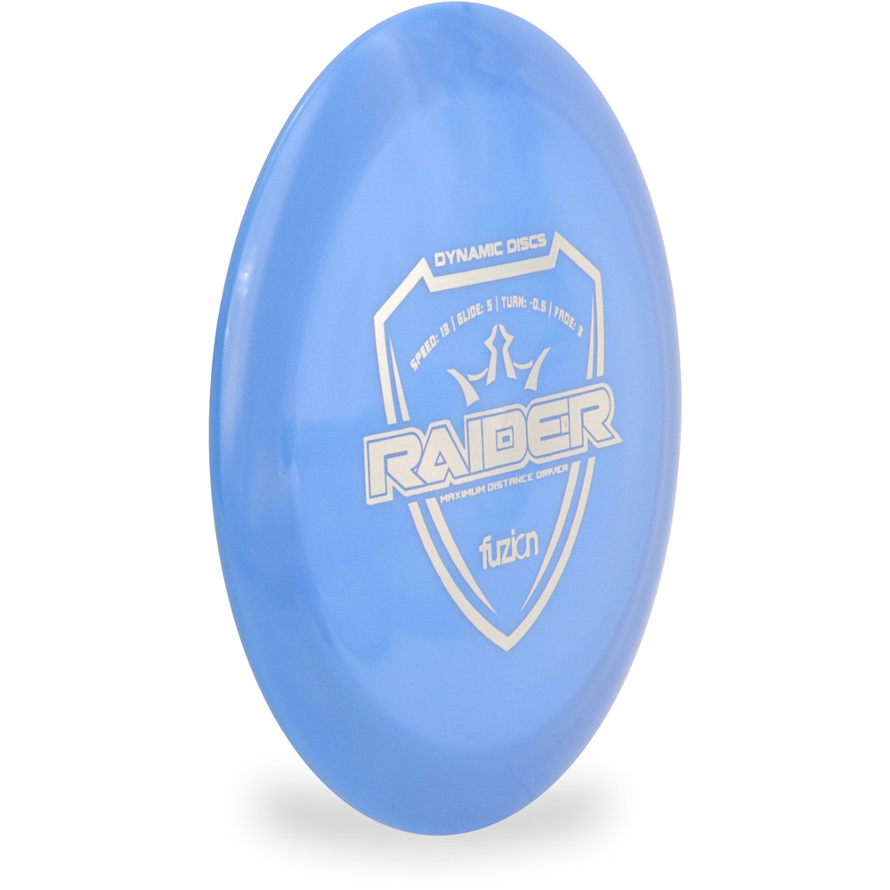 Dynamic Discs Fuzion Raider Distance Driver Blue Angled Front View