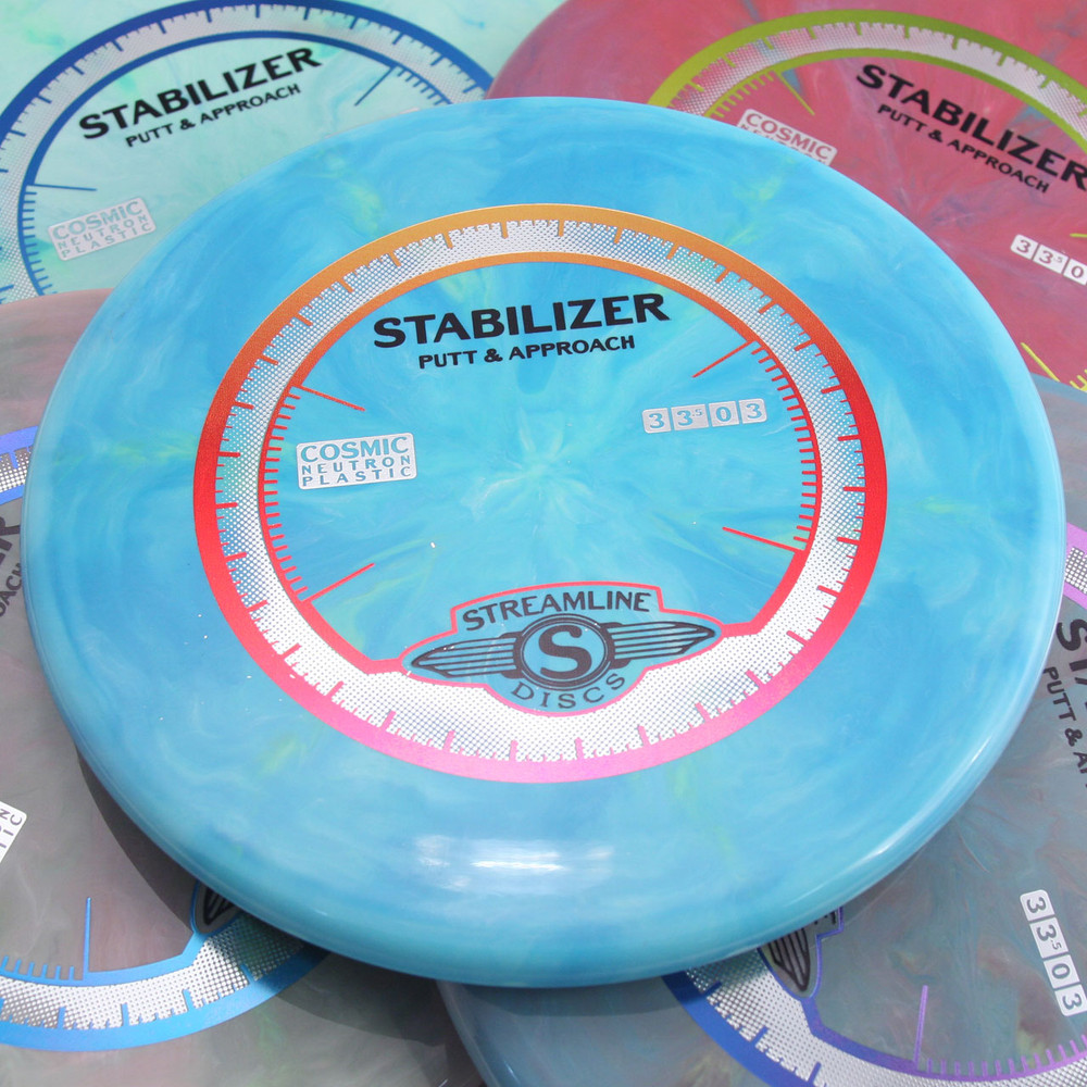 Streamline COSMIC NEUTRON STABILIZER Putter and Approach - five colors of disc spread out and overlapping