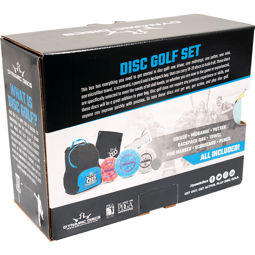 Dynamic Discs Cadet Backpack Starter Set - angled back view of set in a box