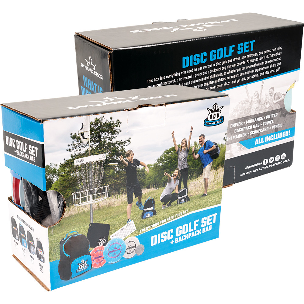 Dynamic Discs Cadet Backpack Starter Set - angled front view of two set in a box, one turned backward
