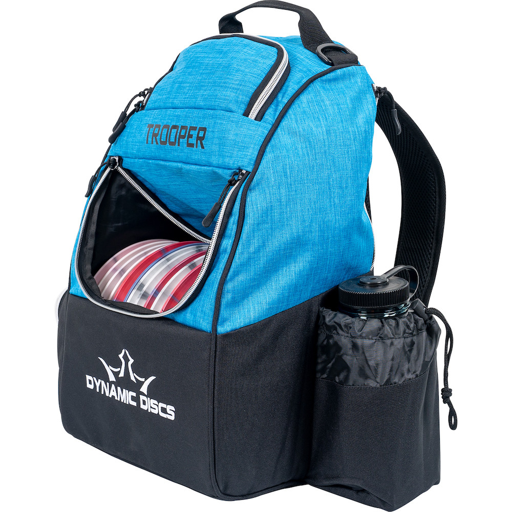 Dynamic Discs TROOPER BACKPACK Bag for Disc Golf - half blue and half black bag, angled front view showing left side, with disc pocket open showing full of discs