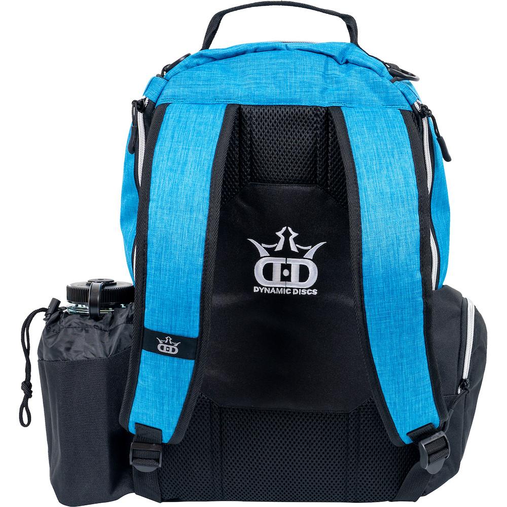 Dynamic Discs TROOPER BACKPACK Bag for Disc Golf - half blue and half black bag, back view, showing straps