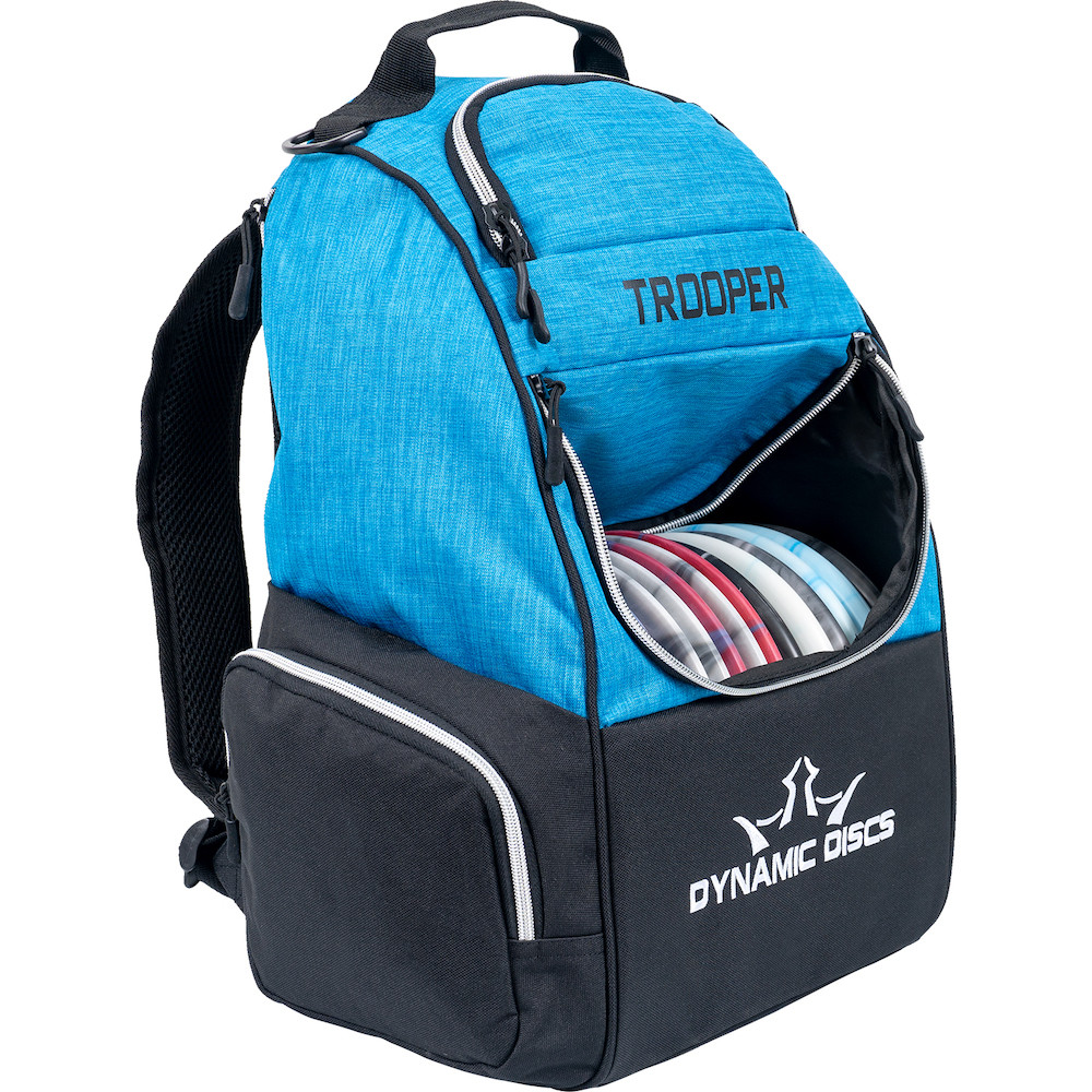 Dynamic Discs TROOPER BACKPACK Bag for Disc Golf - half blue and half black bag, angled front view showing right side, with disc pocket open showing full of discs