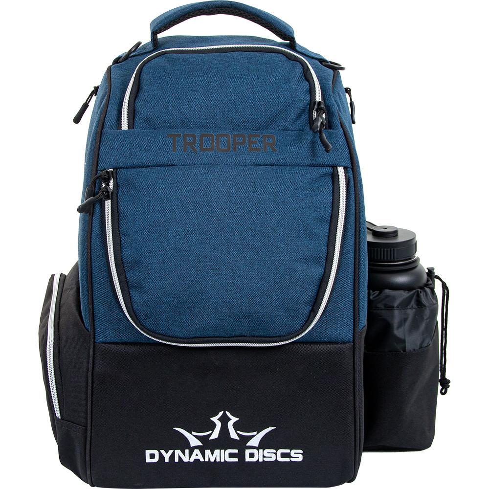 Dynamic Discs TROOPER BACKPACK Bag for Disc Golf - Darker blue bag with black bottom half, front view, with disc pocket closed