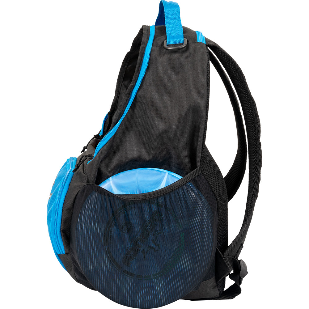 Dynamic Discs CADET BACKPACK Bag for Disc Golf - blue and black bag with disc compartment open, side view showing left side of bag