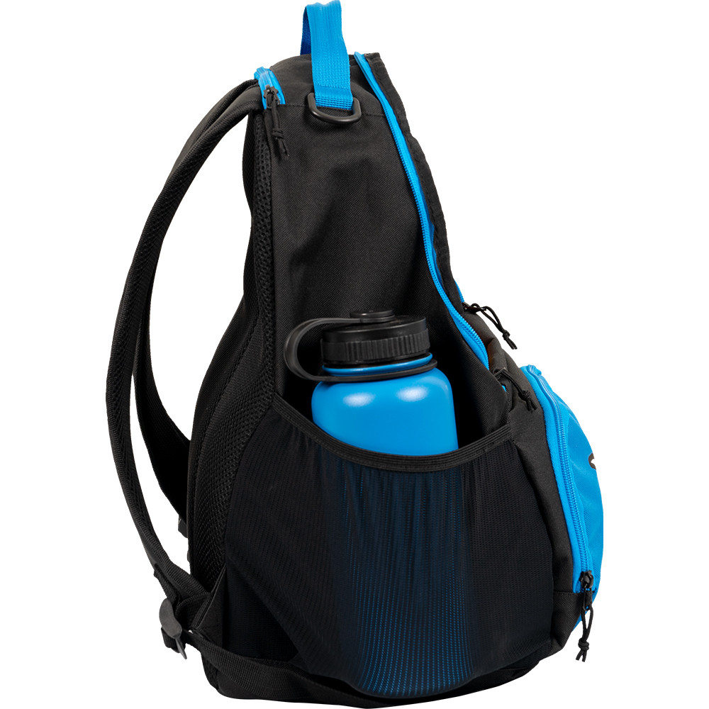 Dynamic Discs CADET BACKPACK Bag for Disc Golf - blue and black bag with disc compartment open, side profile view showing right side of bag and water bottle in pocket