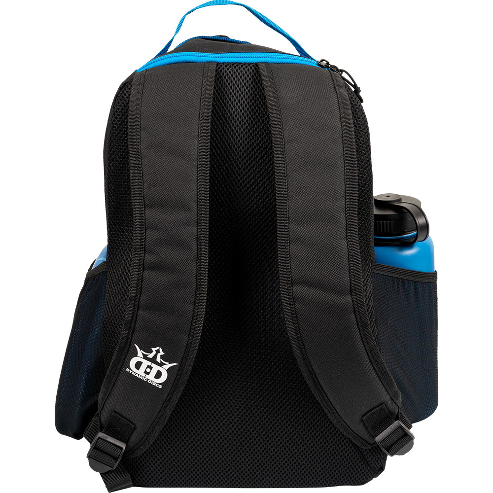 Dynamic Discs CADET BACKPACK Bag for Disc Golf - blue and black bag with disc compartment open, back view showing straps with brand logo on right strap