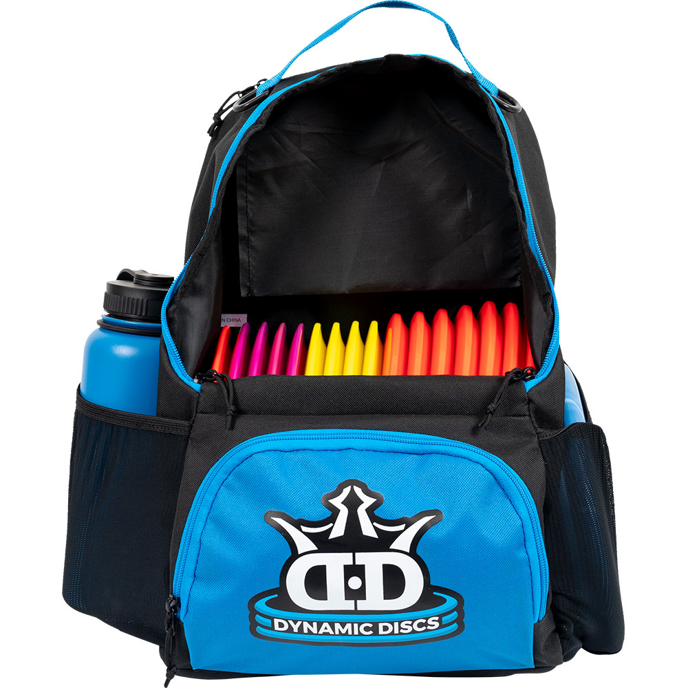 Dynamic Discs CADET BACKPACK Bag for Disc Golf - blue and black bag with disc compartment open, front view