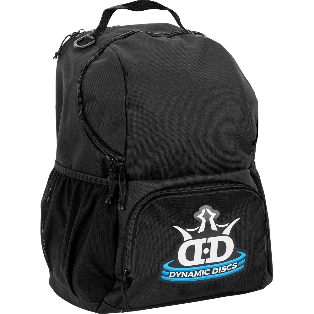 Dynamic Discs CADET BACKPACK Bag for Disc Golf - all black bag with disc compartment closed, angled front view showing right side of bag