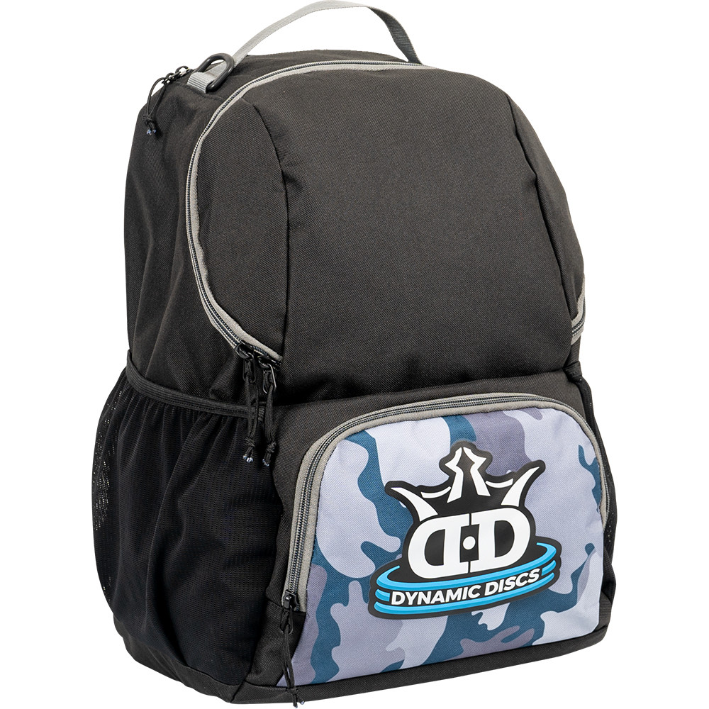 Dynamic Discs CADET BACKPACK Bag for Disc Golf - gray camoflage and black bag with disc compartment closed, angled front view showing right side of bag