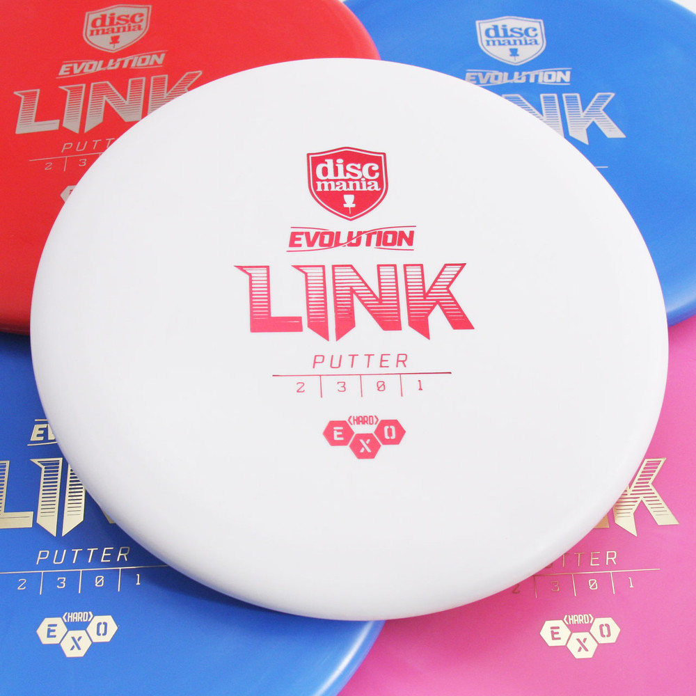 Discmania Evolution EXO HARD LINK Putter & Approach Golf Disc - five discs of different colors spread out and overlapping with a white disc centered in the frame