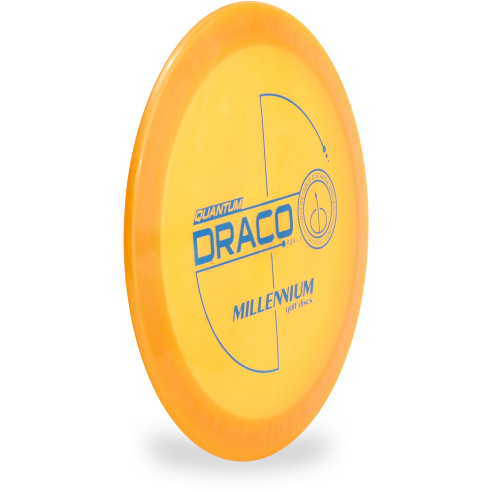 Millennium QUANTUM DRACO Driver Golf Disc Yellow Angled Top View