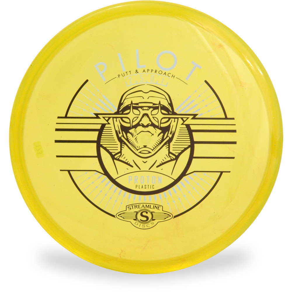 Streamline PROTON PILOT Putter and Approach Golf Disc Top View Yellow