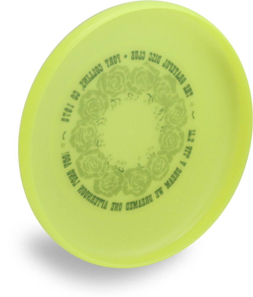 DISCRAFT SKY STYLER FREESTYLE DISC - CUSTOM GRATEFUL DISC ROSES - angled bottom view of yellow disc - the wording from the front is slightly visible through the plastic.