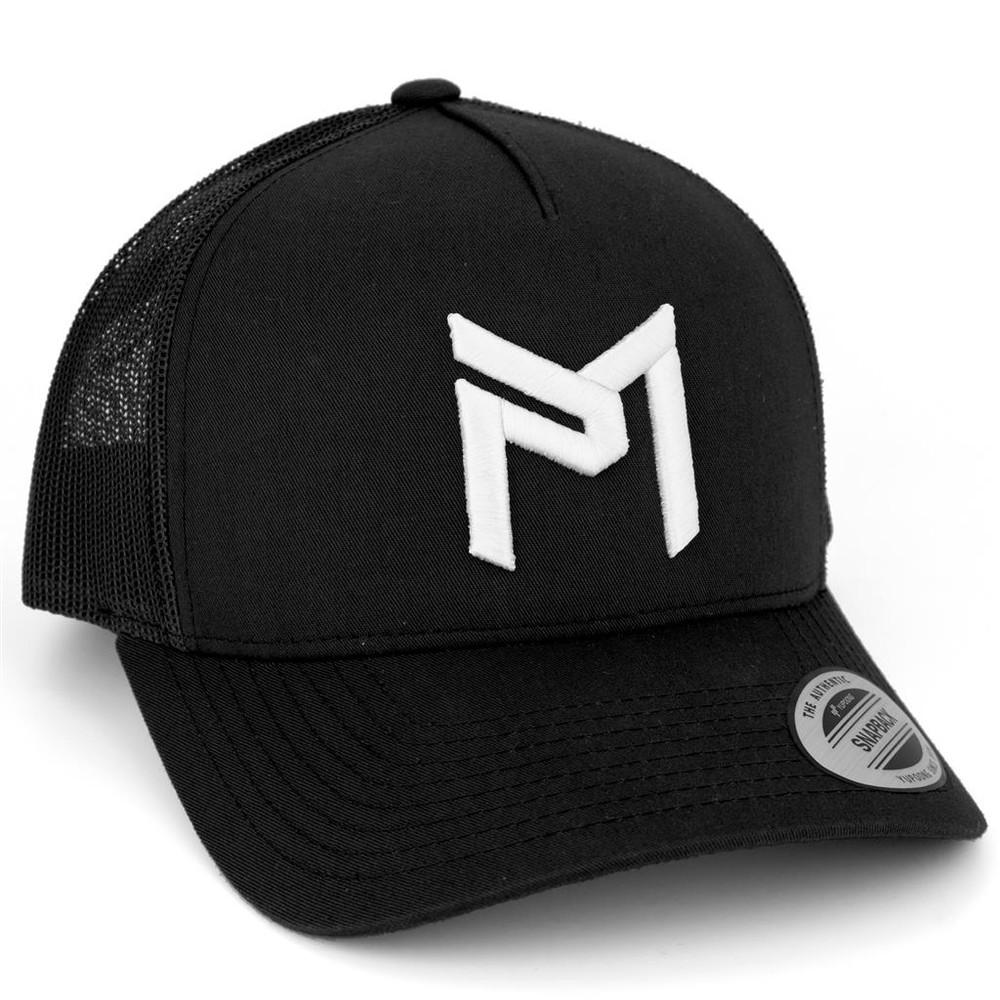 Discraft PAUL MCBETH TRUCKER HAT - Snapback - shows black hat with white PM logo