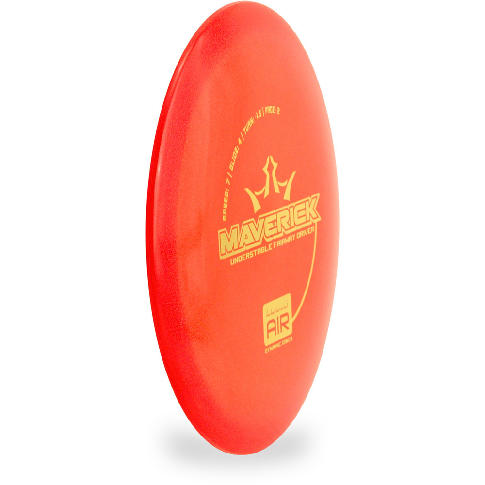 Dynamic Discs LUCID AIR MAVERICK Driver Red Angled Top View