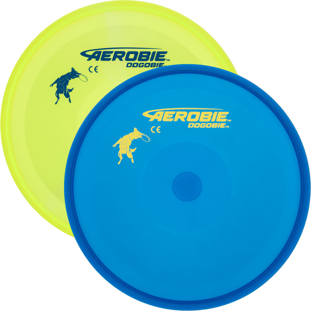 Aerobie DOGOBIE FLYING DISC - Soft/Flexible Canine Dog Frisbee. Shows top view of a yellow and a blue disc, with the blue disc mostly overlapping the yellow one.