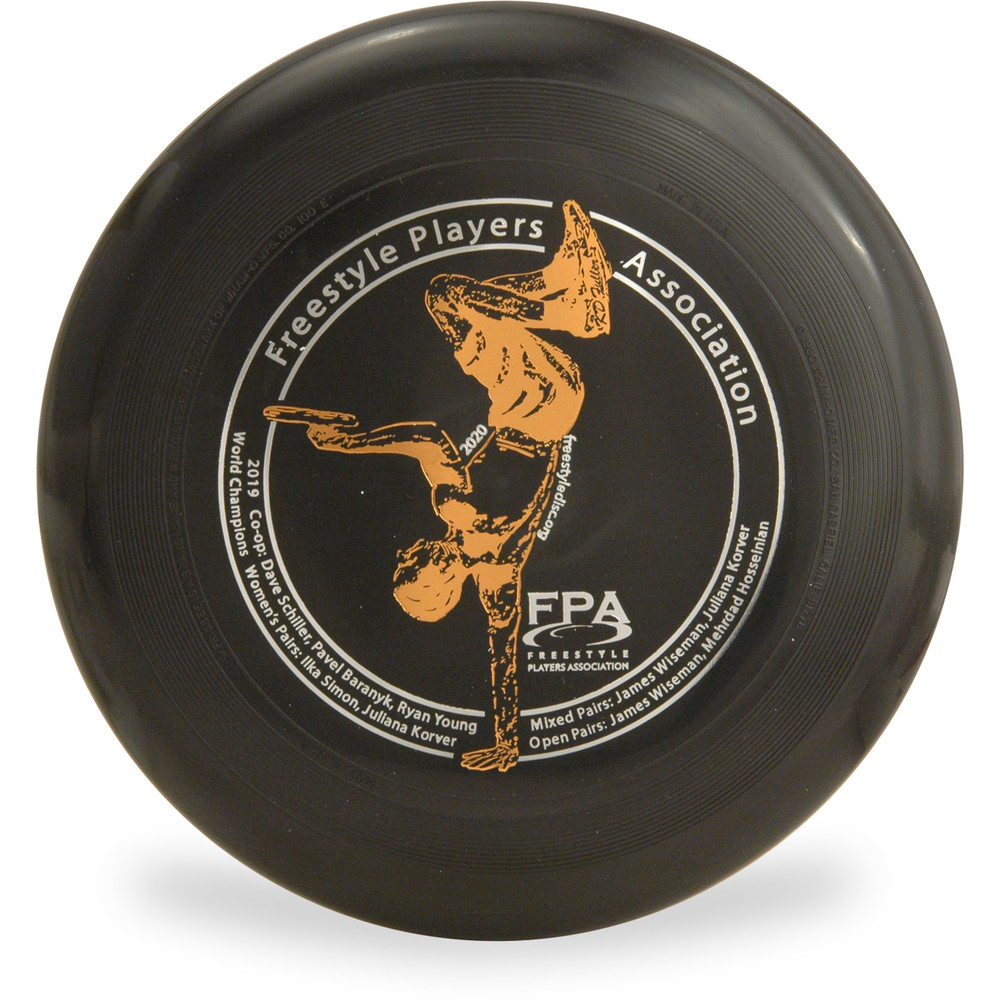 WHAM-O 100 MOLD FRISBEE - Custom FPA 2020 Design Black Top View