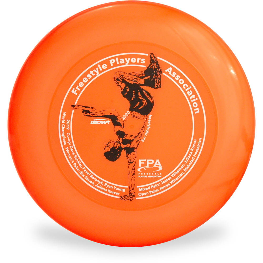 Discraft SKY-STYLER Freestyle Disc - Custom FPA 2020 Design Orange Top View