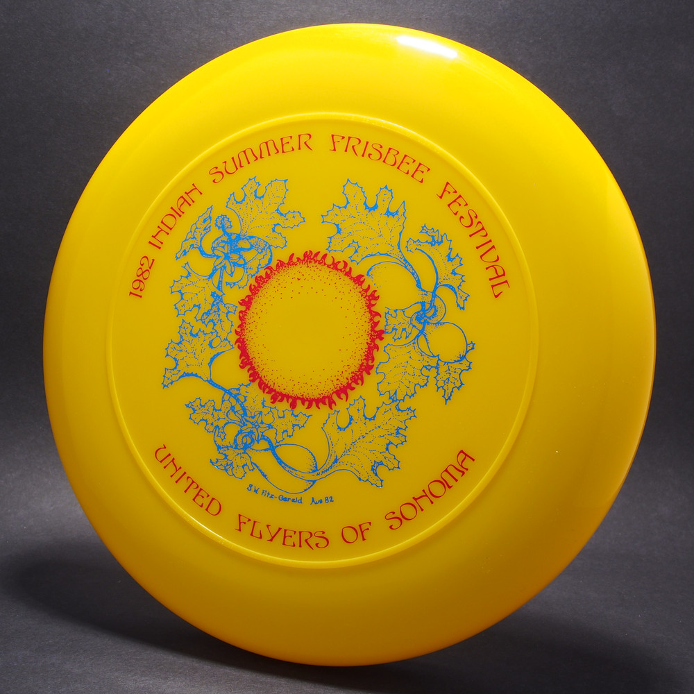 Sky-Styler 1982 Indian Summer Frisbee Festival UFOS Yellow w/ Red and Blue Foil-T80
