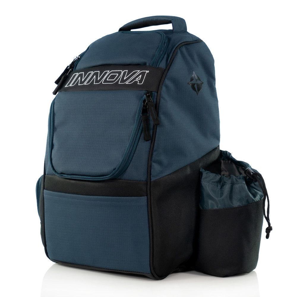 Innova ADVENTURE BAG. Shows a navy and black bag pointing toward the viewer slightly to the left.