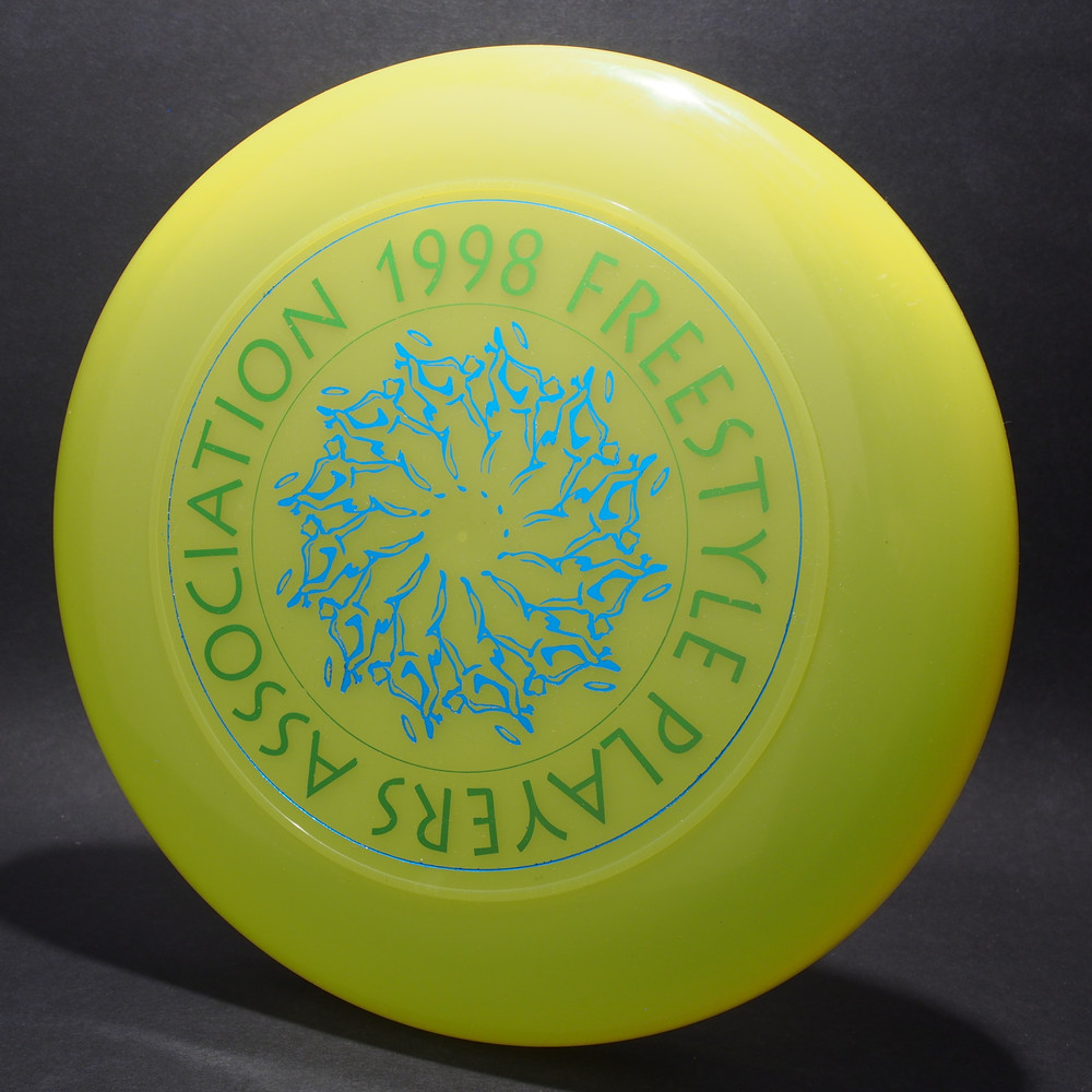 Sky-Styler 1998 FPA Tour Disc Neon Green w/ Metallic Blue and Metallic Green Text - T90  - Top View