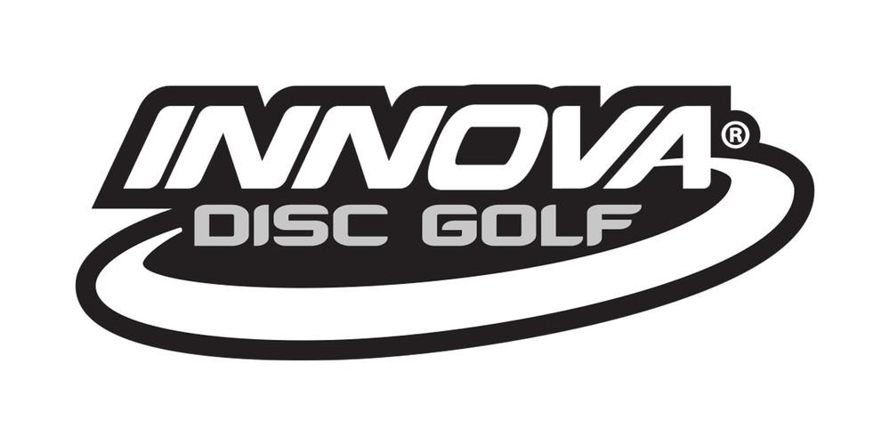 Innova Logo Sticker. Shows one sticker in white on black background.