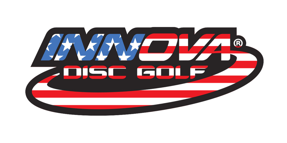 Innova Logo Sticker. Shows one sticker in U.S. flag colors and pattern on black.