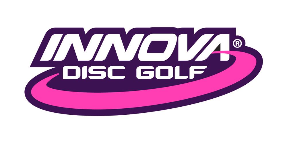 Innova Logo Sticker. Shows one sticker in white and pink on black background.