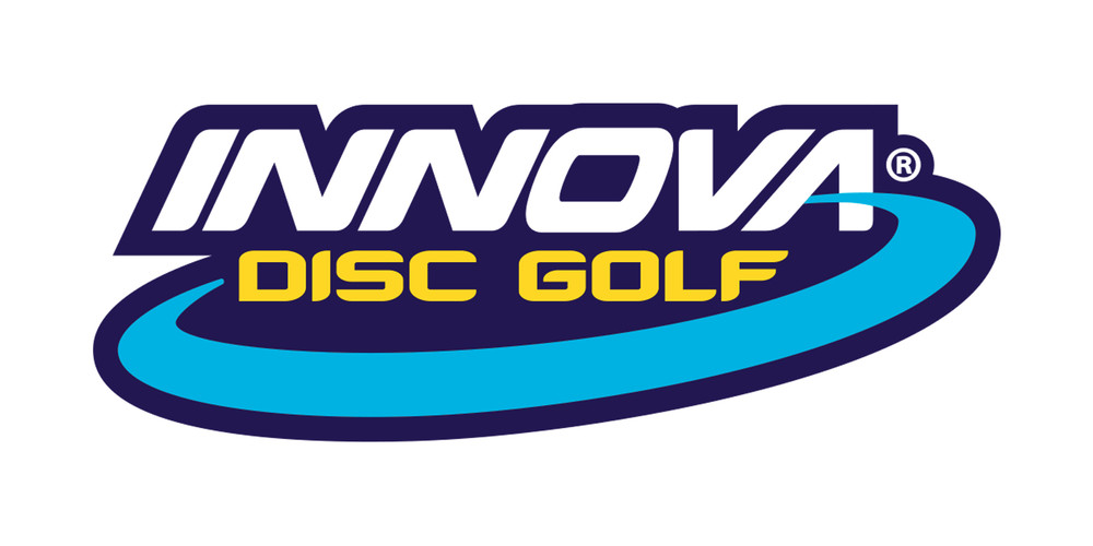 Innova Logo Sticker. Shows one sticker in white, yellow and blue on black background.