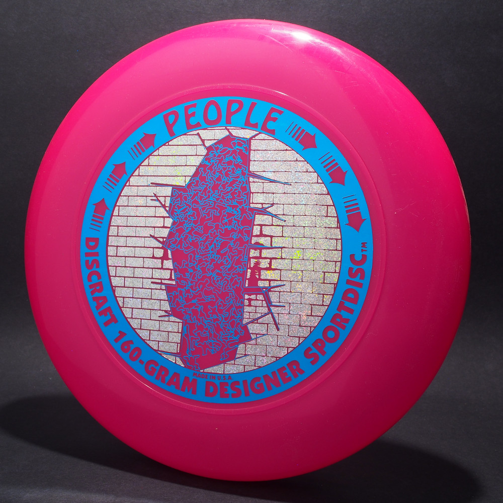 Sky-Styler Discraft People Bright Pink w/ Metallic Silver Sparkle Prism Brick and Metallic Blue People - T90 - Top View