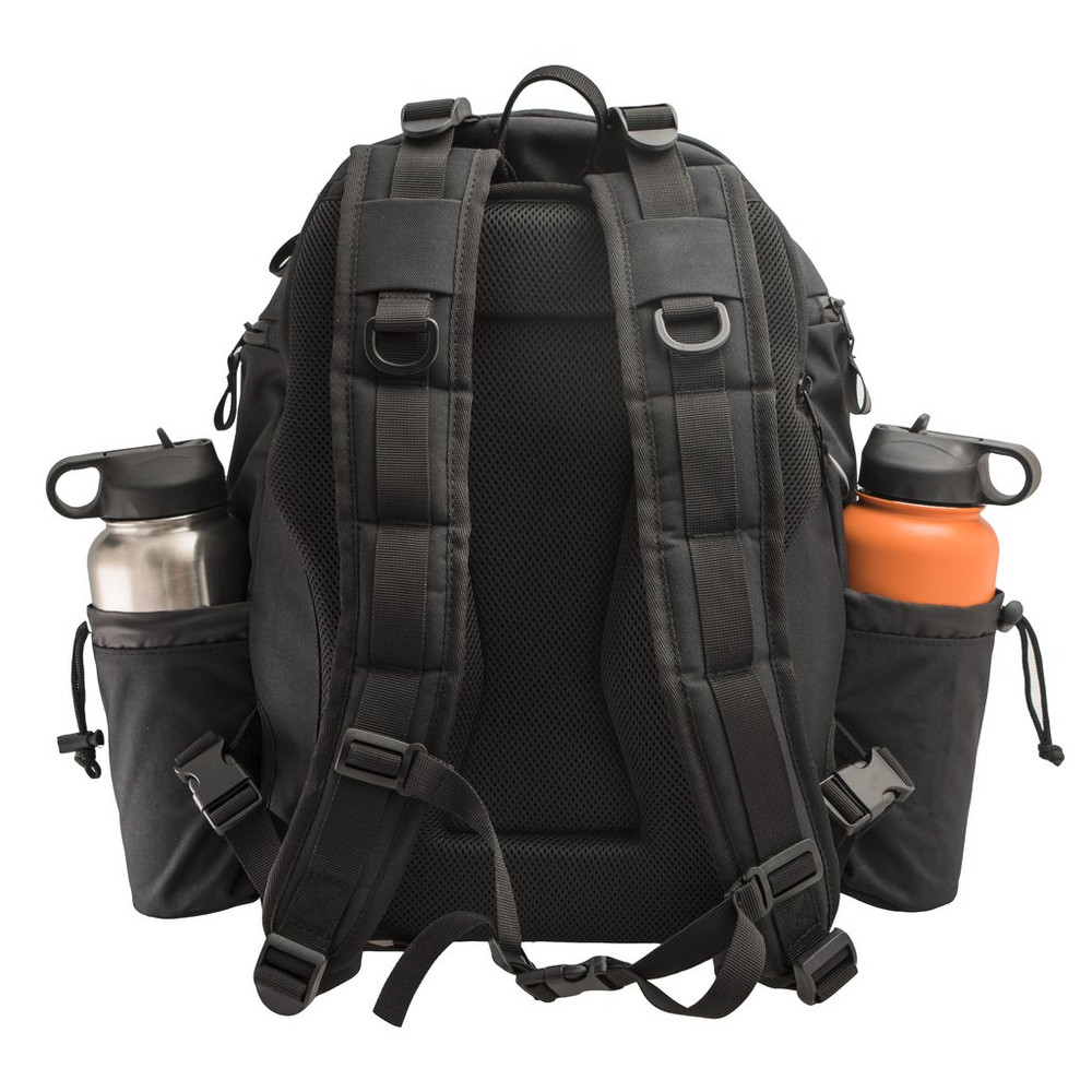 Shows the back of a black Discmania Fanatic 2 Bag pointing away from the viewer. It has an orange and a silver water bottle in its holders.