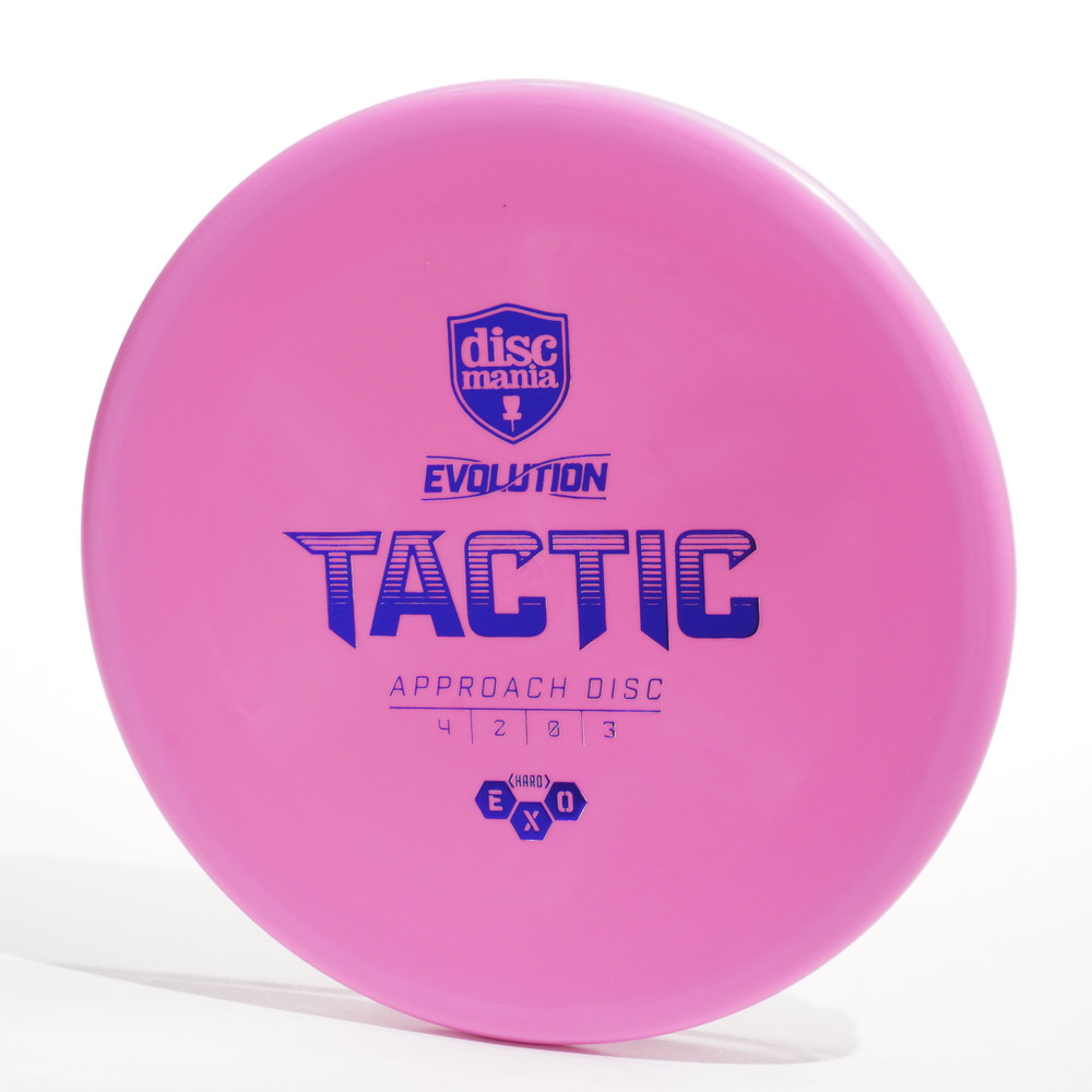 Top view of a pink Discmania Evolution Tactic (Exo Hard)