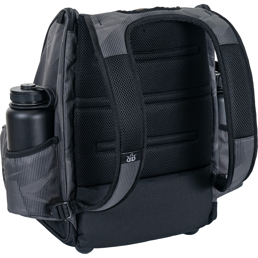 Dynamic Discs Commander Cooler Backpack Disc Golf Bag -  Graphite Hex color. Shows angled back view of bag with water bottles in the side compartments.