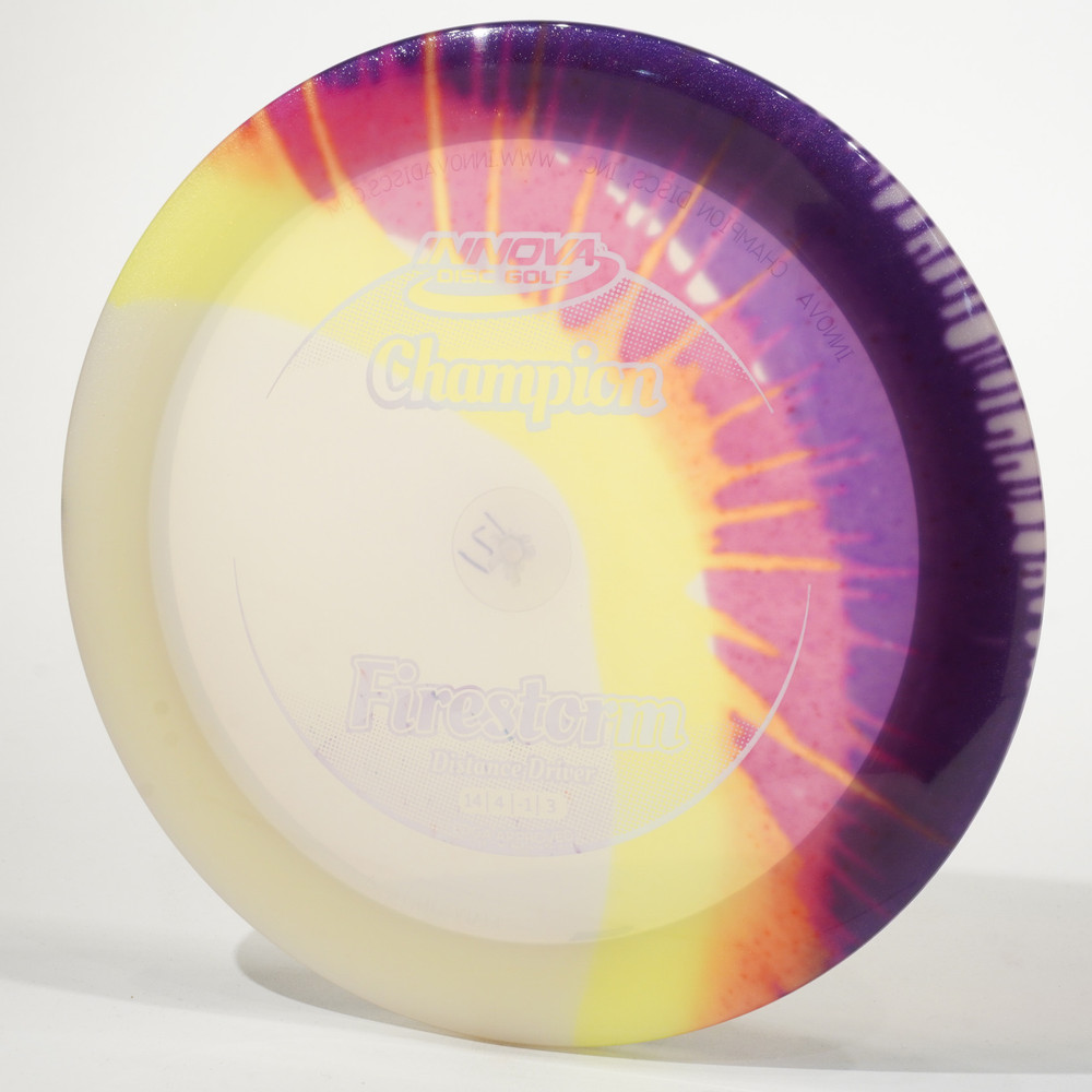Innova Firestorm (I-Dyed Champion) Clear w Yellow Red Purple Top View