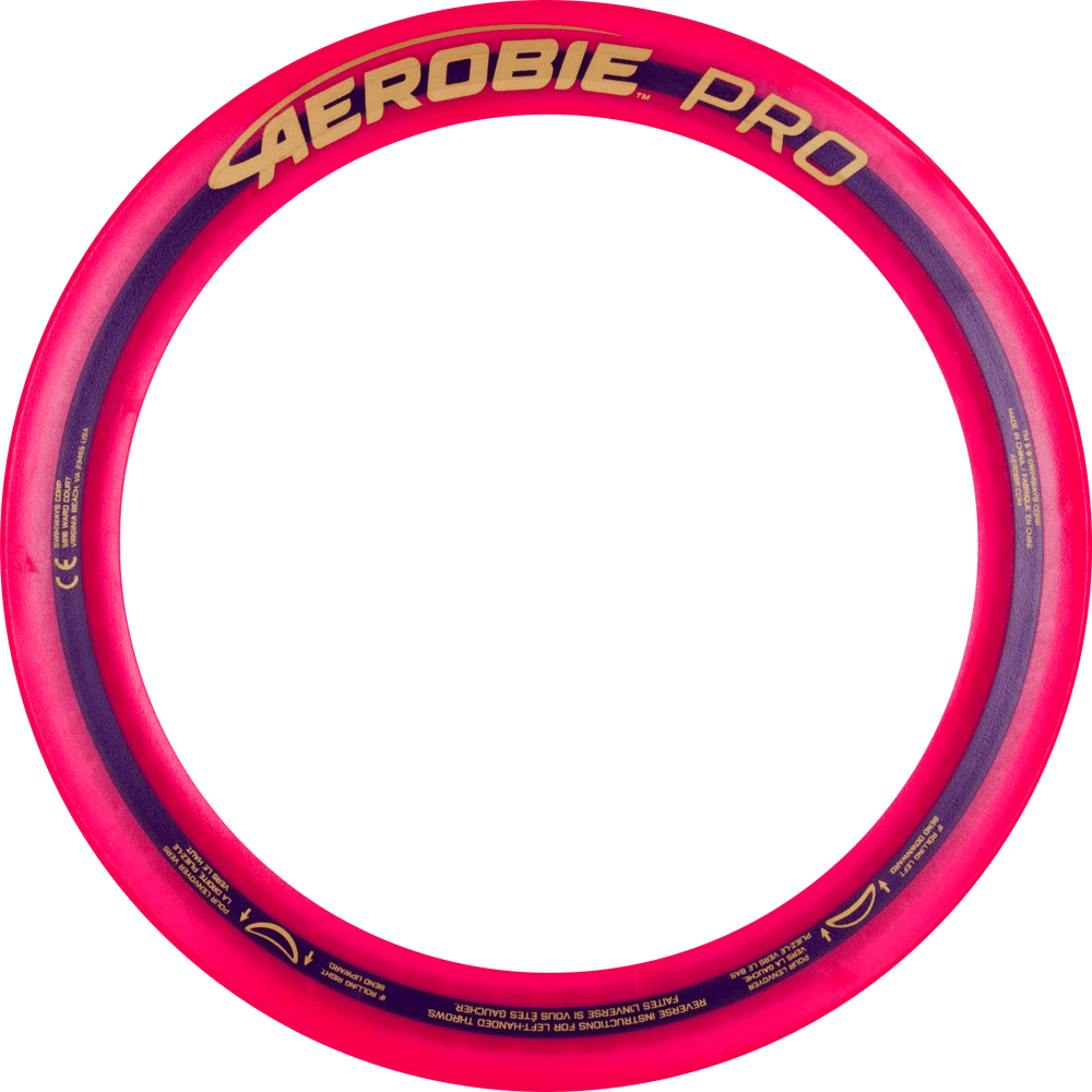 """Aerobie PRO FLYING RING - 13"""" Assorted Colors - top view of pink ring"""