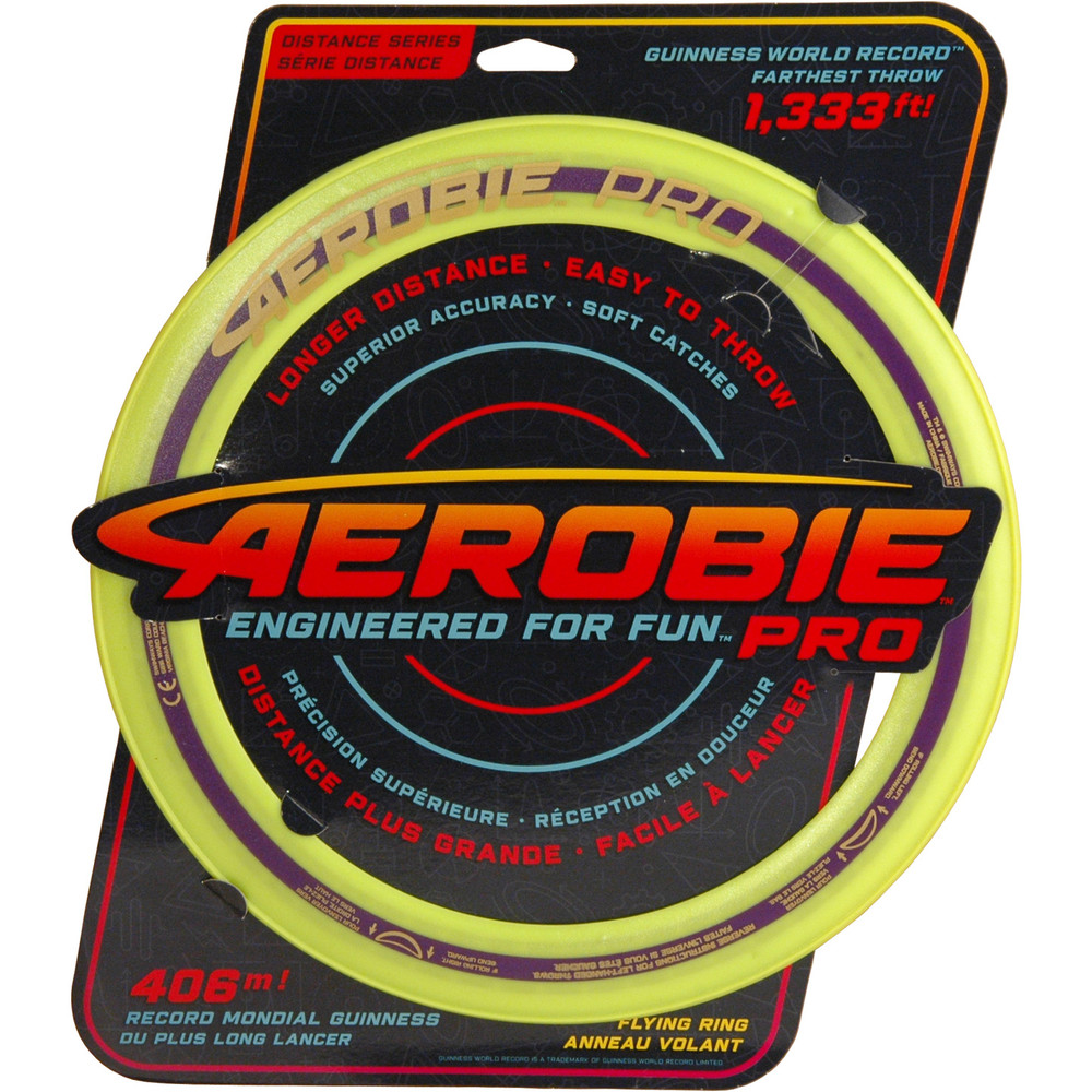 """Aerobie PRO FLYING RING - 13"""" Assorted Colors - top view of green/yellow ring in packaging"""