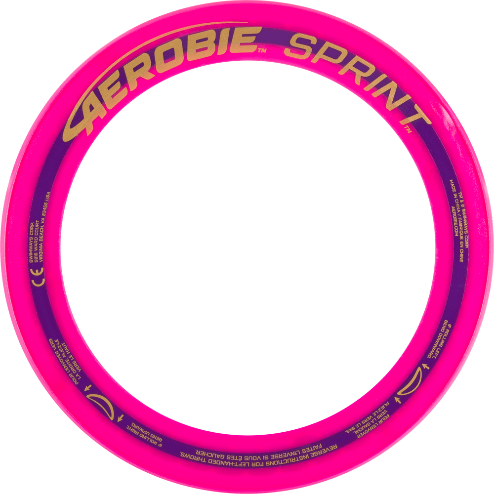 "Aerobie SPRINT FLYING RING - 10"" Assorted Colors. View of pink ring from the top"