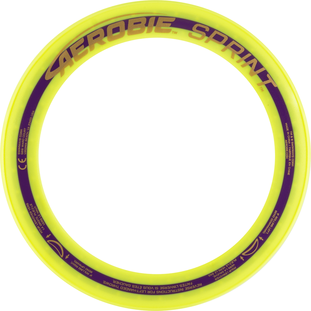 "Aerobie SPRINT FLYING RING - 10"" Assorted Colors. View of yellow ring from the top"