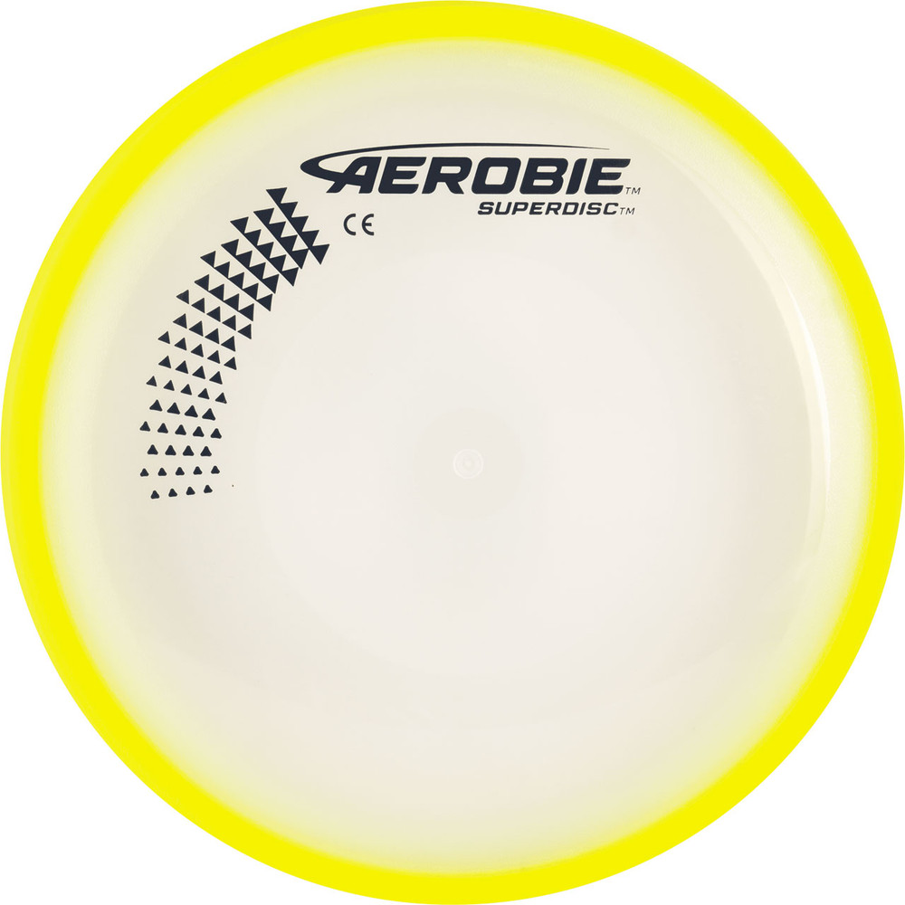 Aerobie SUPERDISC Flying Disc - Super Accurate & Stable. Shows top view of yellow disc.
