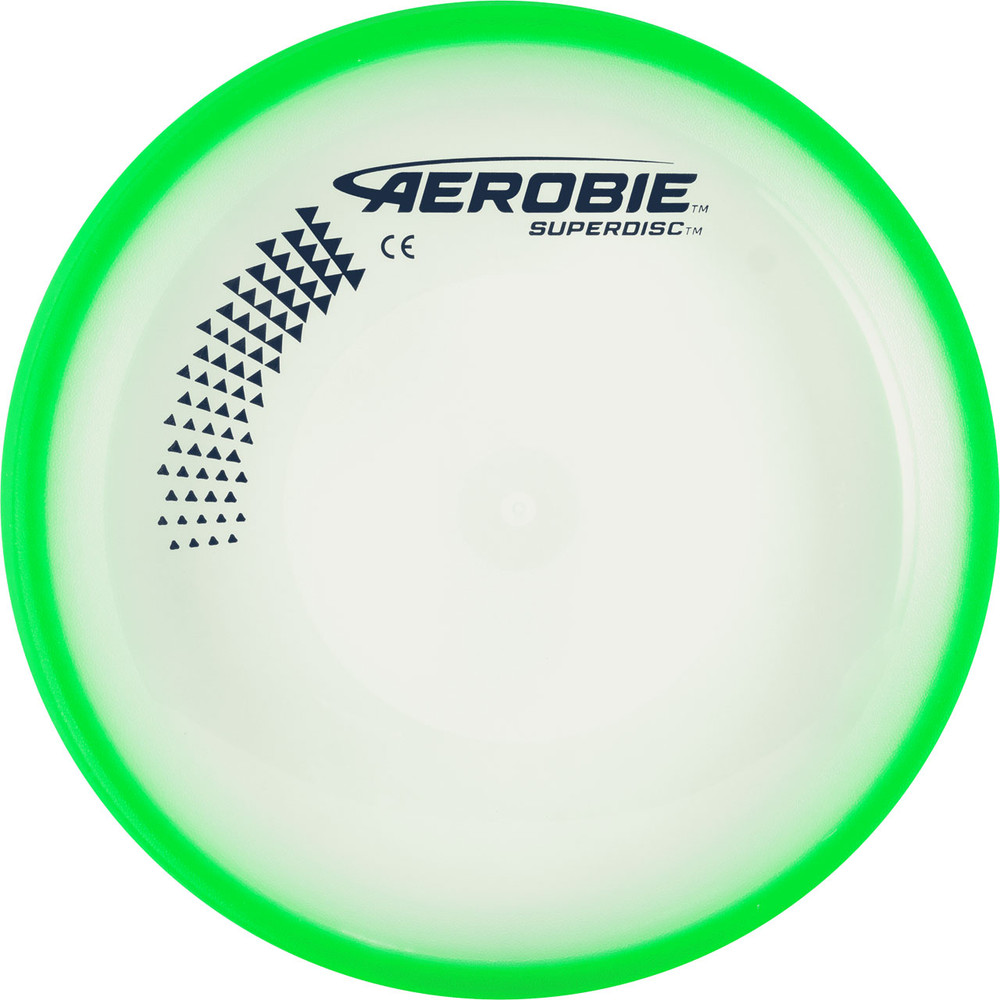 Aerobie SUPERDISC Flying Disc - Super Accurate & Stable. Shows top view of green disc.