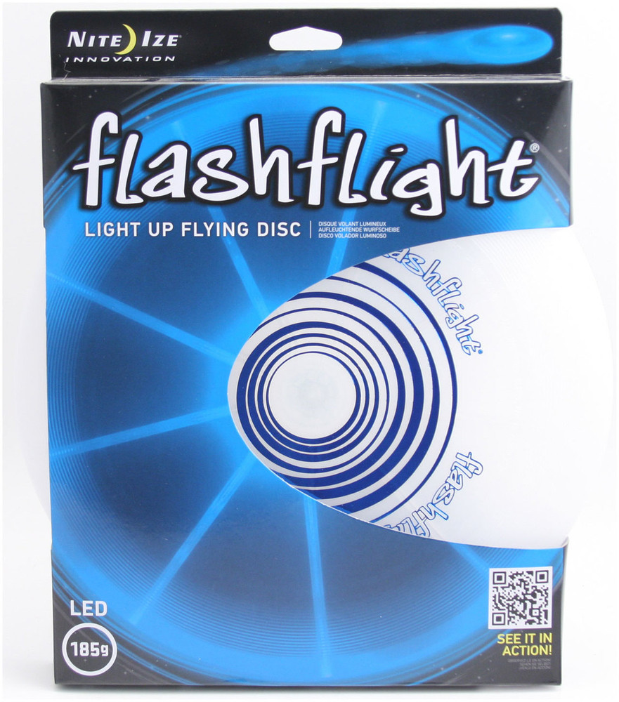 Nite Ize FLASHFLIGHT - LED Light Up Flying Disc - front view of blue disc in box