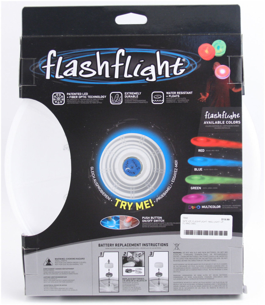 Nite Ize FLASHFLIGHT - LED Light Up Flying Disc - back view of blue disc in box