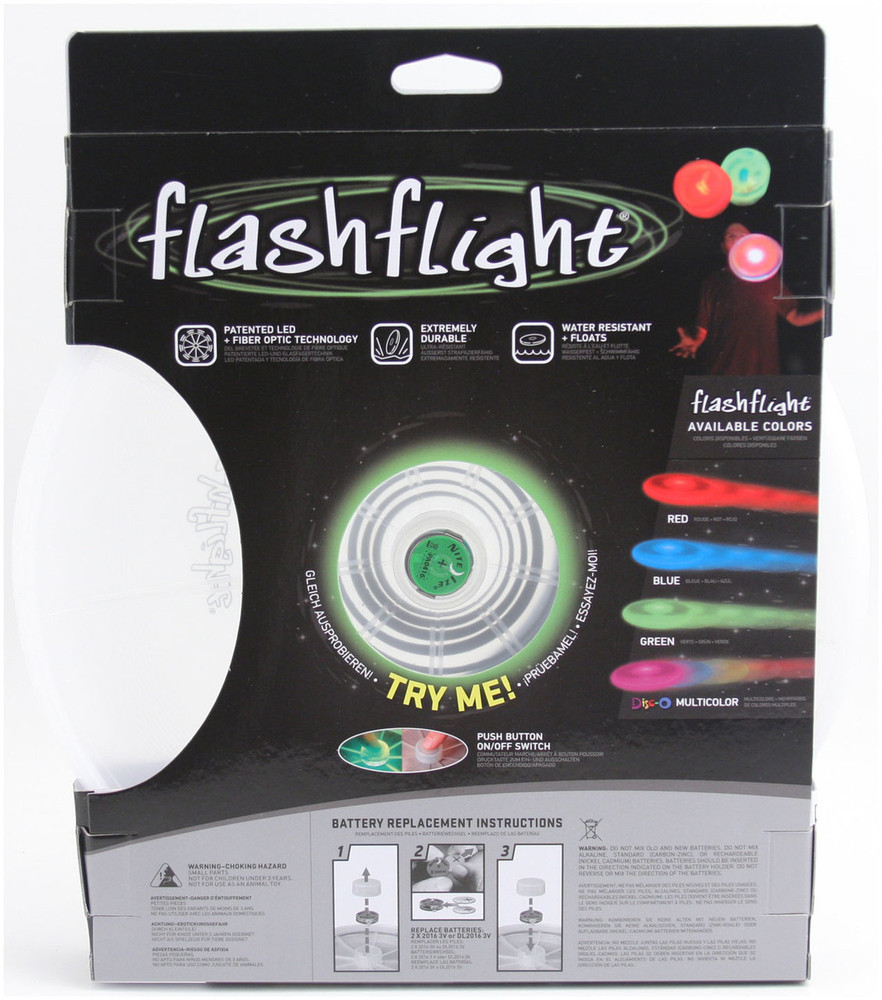 Nite Ize FLASHFLIGHT - LED Light Up Flying Disc - back view of green disc in box