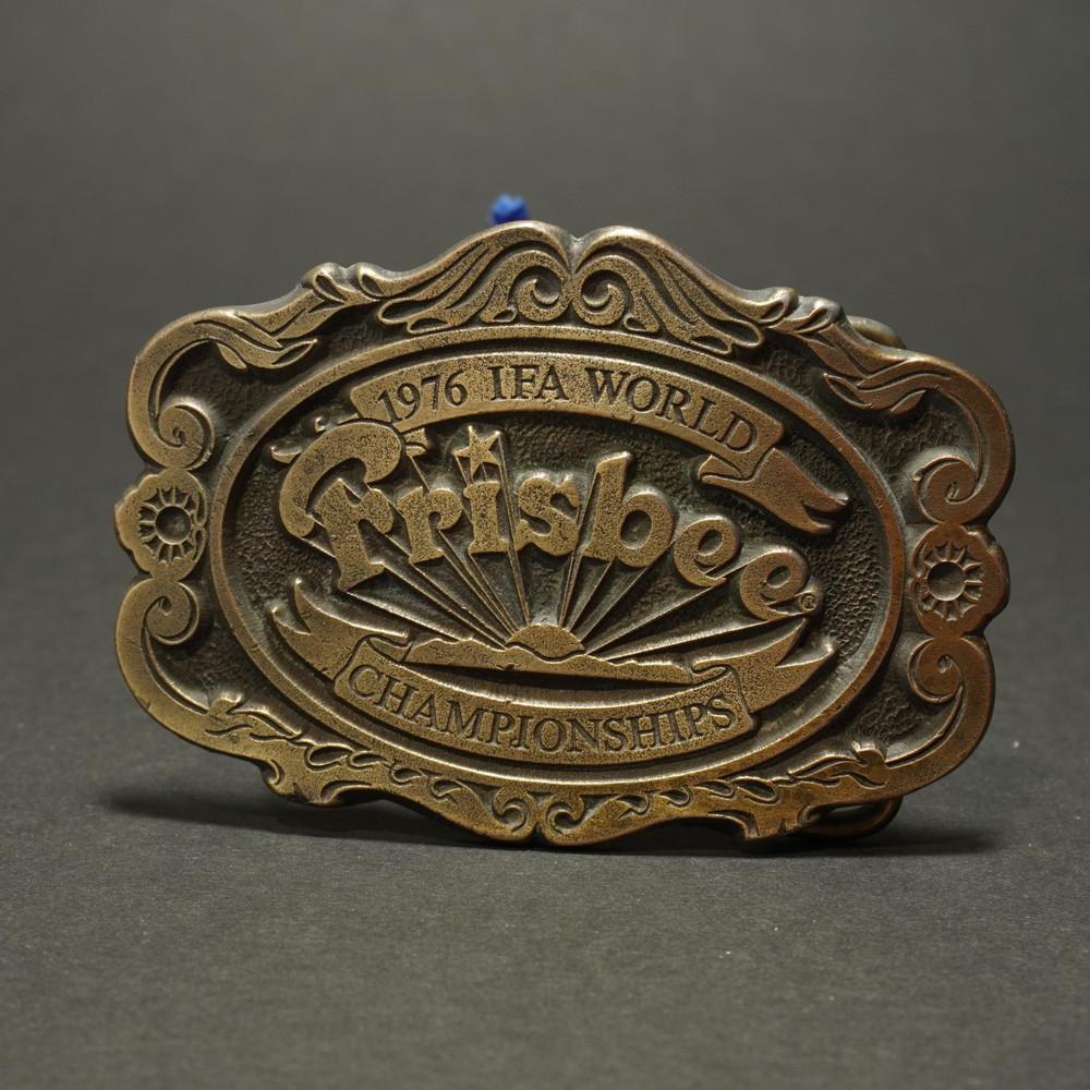 Wham-O Belt Buckle - Brass 1976 IFA World Frisbee Championships