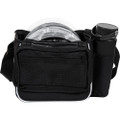 Back view of black Dynamic Discs Cadet starter bag. Shows water bottle in pocket on viewer's right side, gray discs in main pocket, and a single strap.