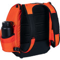 Angled back view of Dynamic Discs Commander Backpack Bag in Infrared Orange color featuring black detailing.