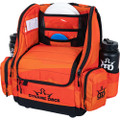 Angled front view of Dynamic Discs Commander Backpack Bag in Infrared Orange color featuring black detailing.