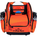 Front view of Dynamic Discs Commander Backpack Bag in Infrared Orange color featuring black detailing.